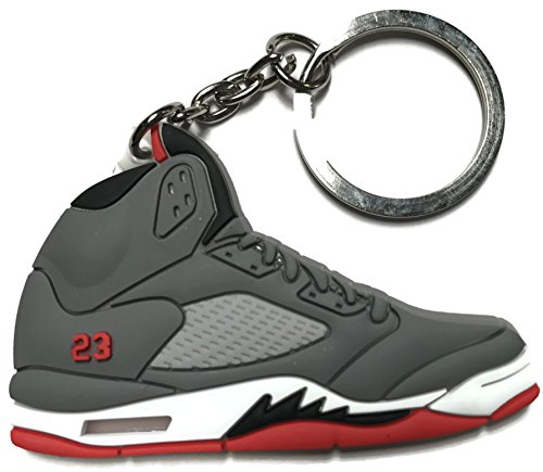 Air Jordan Retro 5 Gray White Red Keychain Shoe Collectable from Wethefounders