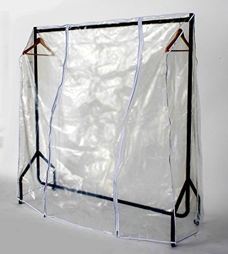 Funda transparente para perchero con dos cremalleras, plástico, transparente, 6ft Long x 5ft High