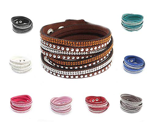 Juanerjie Women's 9 pcs Premium Crystal Slake Bracelet with Beautiful Elements, Button Clamp