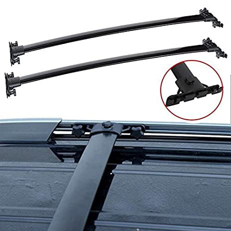 AUXMART Roof Rack Cross Bars For 2008 2013 Toyota Highlander Aircraft  Aluminum Black   132LBS