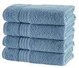 Hammam Linen HL Luxury Hotel & Spa Bath Towel Turkish Cotton Bath Towels - Light Blue - Set of 4, 27' x 52'