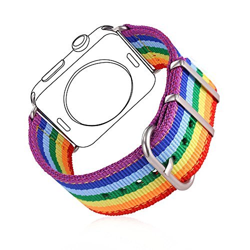 Rainbow Wristband for Apple Watch 42MM, Bandmax Watch Strap Comfortable Denim Fabric Replacement Band for Apple Watch Series (Rainbow Band)