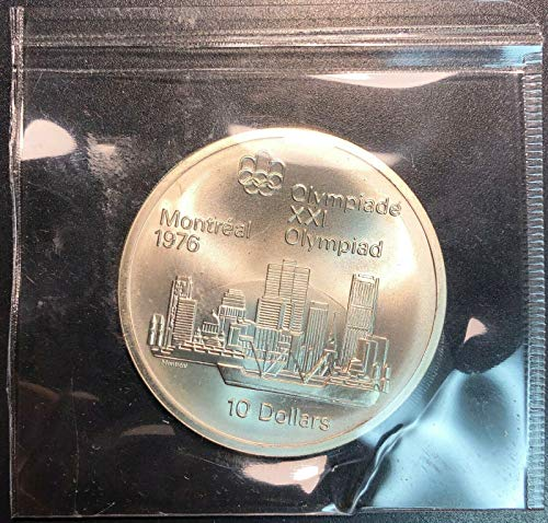(1976 MONTREAL OLYMPICS $10 STERLING SILVER COIN SKYLINE MINT CONDITION )