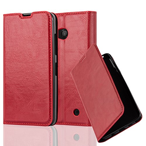 Cadorabo Case works with Nokia Lumia 550 Book Case in APPLE RED (Design INVISIBLE CLOSURE) – with Magnetic Closure, Stand Function and Card Slot – Wallet Case Etui Cover PU Leather by Cadorabo
