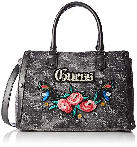 Guess Badlands, Women's Top-Handle Bag, Black (Black Denim/Bld), 32x24x14.5 cm (W x H L)
