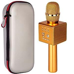 micgeek i6, Original micgeek fábrica, Wireless Bluetooth micrófono de karaoke, 3-in-11800mAh 18650batería, aleación de aluminio máquina de karaoke ktv para el iPhone Smartphone Android o PC..., Dorado