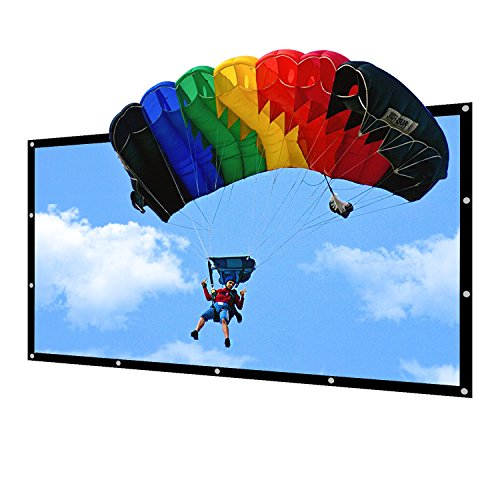 Portable Projector Screen Indoor Outdoor Lightweight Folding Movies Screen Wrinkle Free 100 inch HD Projection Screen 3D Rear Front by NIERBO