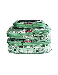 LeanTravel - Juego de 3 bolsas organizadoras de compresión con doble zipper para equipaje de viaje