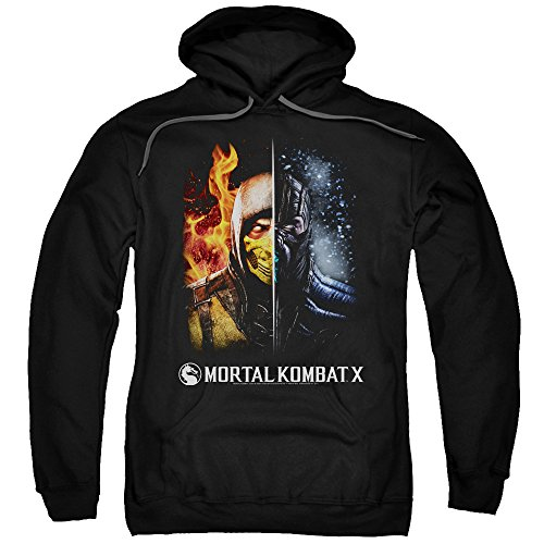 Mortal Kombat Fire And Ice Mens Pullover Hoodie (Black, XXX-Large) (Women Of Mortal Kombat)