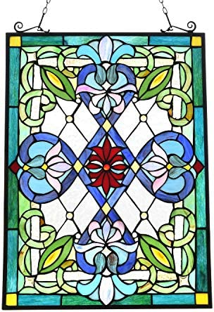 Capulina Victorian Handcrafted Stained Glass Windows Panels Hangings Art, Beautiful Way to Accentuate Any Home or Business with a Classic Feel – Abstract Art Style W13.4 x H8.8 inches