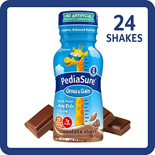 PediaSure Grow & Gain Kids' Nutritional Shake, with Protein, DHA, and Vitamins & Minerals, Chocolate, 8 fl oz, 24-Count - Pediatric Daily Care