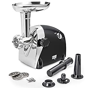 Electric Meat Grinder – Size #5 – Model STX-1200-ME - STX International Magnum Elite – Black – 3 Grinding Plates – 1 Stainless Steel Cutting Blade – Kubbe & Sausage Stuffing Attachment