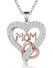 Caperci Two-Tone Rose Gold Sterling Silver Love MOM Heart Pendant Necklace for Women, 18""
