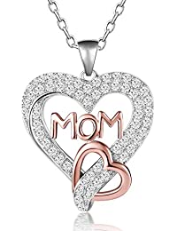 Two Tone Rose Gold Plated and Sterling Silver Love MOM Heart Pendant Necklace for Women, 18""