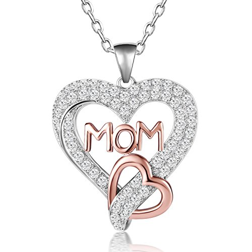 Caperci Two-Tone Rose Gold Sterling Silver Love MOM Heart Pendant Necklace for Women, 18
