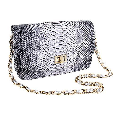 Aisa Women Snakeskin Pattern Handbag Envelope Clutch Bag with Metal Chain Strap Retro Purse Shoulder Bag