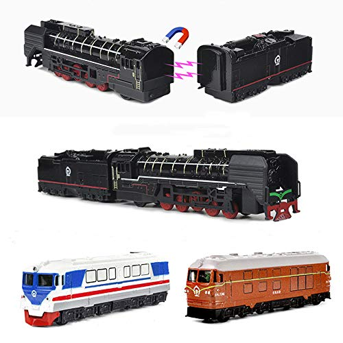 (MinYn Locomotive Train Model Toy Pullback Retro Steam Train Magnetic Simulation Die cast Engine Vehicle Set Collection Gift Kids - 4pcs)