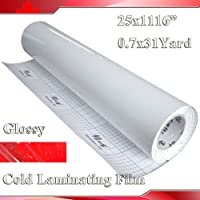 1116x25 (0.7x31yards) 3mil Glossy Uv Luster Vinyl Cold Laminating Film Laminator