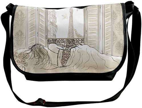 メッセンジャーバッグ ショルダーバッグ エッフェル塔の景色を望むパリの女性 斜めがけ ワンショルダー バック カバン キャンバス 大容量 超軽量 学校 旅行 メンズ レディース 正規品
