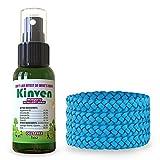 Kinven Anti Mosquitoes Repellent Bundle - Mosquito Wristband Repellent & Spray, Waterproof, Natural, DEET-free, Indoor & Outdoor Protection (1oz spray bottle + 4 bracelet, Light Blue)