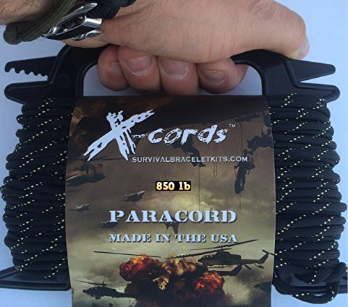 X-CORDS Paracord 850 Lb Stronger Than 550 and 750 Made by Us Government Certified Contractor (100' Black Diamond Kevlar ON Spool) by X-CORDS (Image #4)