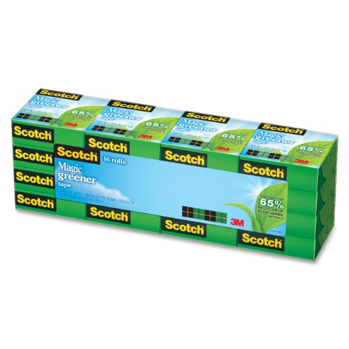Scotch Magic Greener Tape, Standard Width, Engineered for Mending, 3/4 x 900 Inches, Boxed, 16 Rolls (812-16P) (Scotch Magic)