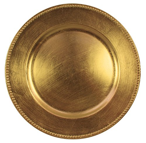Charge It By Danny Gold Beaded Round Charger Plates Premium Finest Quality, Set of (12) (Charger Plate)