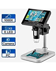 Digital Microscope USB 4.3 inch LCD Display, Zoom 1000X Magnification, and Adjustable high Brightness 8 White LEDs