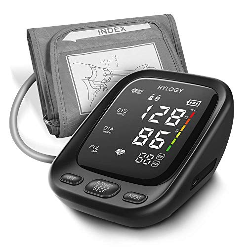 (Blood Pressure Monitor, HYLOGY Upper Arm Digital Automatic BP Monitor with 2-Users 90-Reading Memory, Large LED Display and Adjustable Cuff, CE and FDA Approved, Support Type-C Charge)