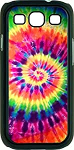 Bright Tie-Dye- Case for the Samsung Galaxy S3 i9300 -Soft Black Rubber Case with a Swinging Open-Close Flap that Covers the screen