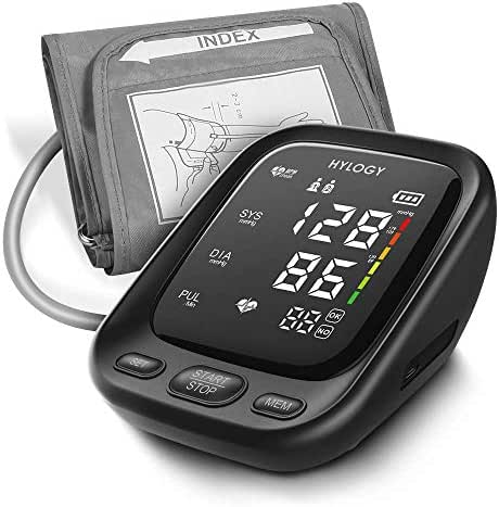 Blood Pressure Monitor, HYLOGY Upper Arm Blood Pressure Machine with 2-Users 180-Reading Memories, Large LED Display and Adjustable Cuff, Support Type-C Charge