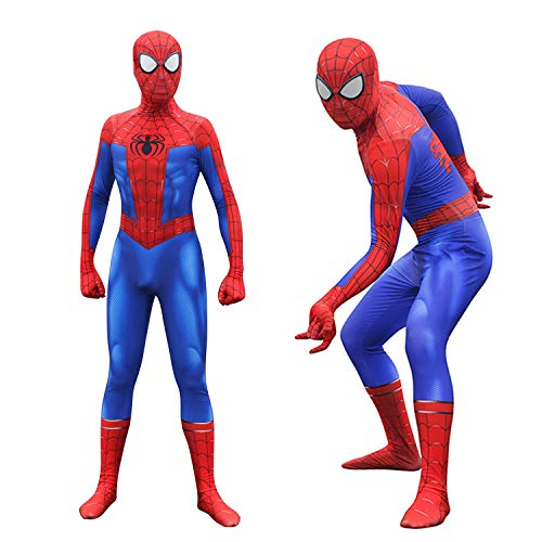 Unisex Lycra Spandex Zentai Halloween Into The Spideverse Cosplay Costumes Suit Adult/Kids 3D Style (Kids-XS Blue ()