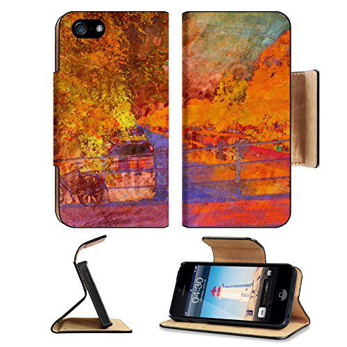 Liili Premium Apple iPhone 5 iphone 5S Flip Pu Leather Wallet Case oil painting of amsterdam canal early morning iPhone5 Photo 6997456 Simple Snap Car…