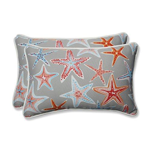 (Pillow Perfect Outdoor | Indoor Stars Collide Pewter Rectangular Throw Pillow (Set 2 Piece)