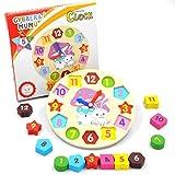 GYBBER&MUMU Little Star Wooden Blocks Toys Digital Geometry Clock Children's Educational Toy for...