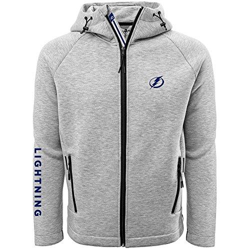 (Levelwear LEY9R NHL Tampa Bay Lightning Adult Men Titan Banner Stripe Full Zip Hooded Jacket, X-Large, Heather Pebble)