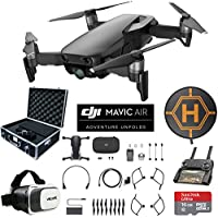 DJI Mavic Air (Onyx Black) Drone Combo 4K Wi-Fi Quadcopter with Remote Controller Mobile Go Bundle with Hard Case VR Goggles Landing Pad 16GB microSDHC Card and Cleaning Kit