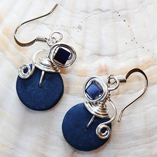Navy Blue Wire Wrap Dangle Earrings - Handmade Jewelry - Casual Wear