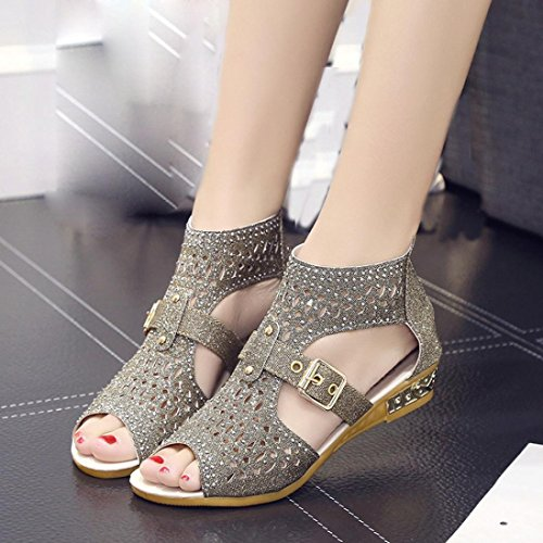 Wedge à 2017 Femme Bouche Fashion Sandales Or Manadlian Poisson Femme Shoes Sandales Hollow Out de Pompes Sexy q8XAwE