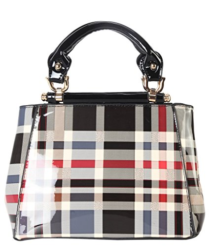diophy-shiny-patent-pu-leather-classical-plaid-small-top-handle-handbag-accented-with-removable-stra