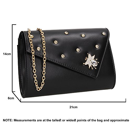 Night Butterfly Prom SWANKYSWANS Clutch Out Ladies Black Party Wedding Celebrity Nylah Bag Purse Evening Stud wqqIpY