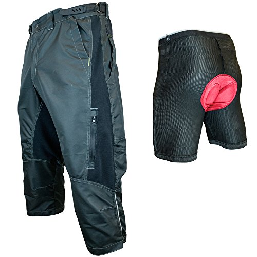 Urban Cycling Apparel The Gravel II 1/2 Pants - Long Mountain Bike MTB Baggy Shorts with Magnet Pockets, Thigh Vents, and Dry-Fast Wicking (2XL, Black - with Undershorts)