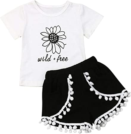 US Infant Baby Girl Floral Bell Sleeve Tops Shorts Pants Headband Outfit Clothes