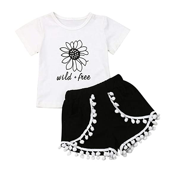UK Toddler Baby Kids Girls Tops T-shirt Sunflower Pants Leggings Outfits Clothes