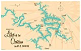 Lake of the Ozarks Missouri Map Giclee Travel Art Poster by Artist Lakebound (12 x 18 inch) Art Print for Bedroom, Family Room, Kitchen, Dorm Room or Office Wall Décor