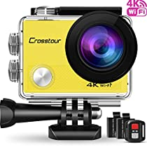 Crosstour 4K Action Cam WIFI 16MP Subacquea Ultra HD Sport Action Camera 170° Grandangolare due 1050mAh Batterie Custodia Impermeabile e Kit di Accessori (CT9000)