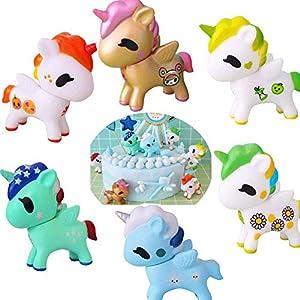 6PCS Unicorn Cake Topper Figures Unicorn Cake decorations kit Toy Dolls Birthday Standup Cake Toppers Cupcake Decoration…