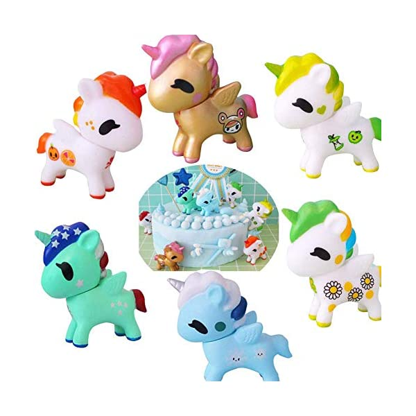 Unicorn Cake Topper Figures Toy Dolls Birthday Standup Cake Topper Cake Decorations Candle Unicorn Party for Birthday Wedding Kids Baby Shower (Pack of 6) 3