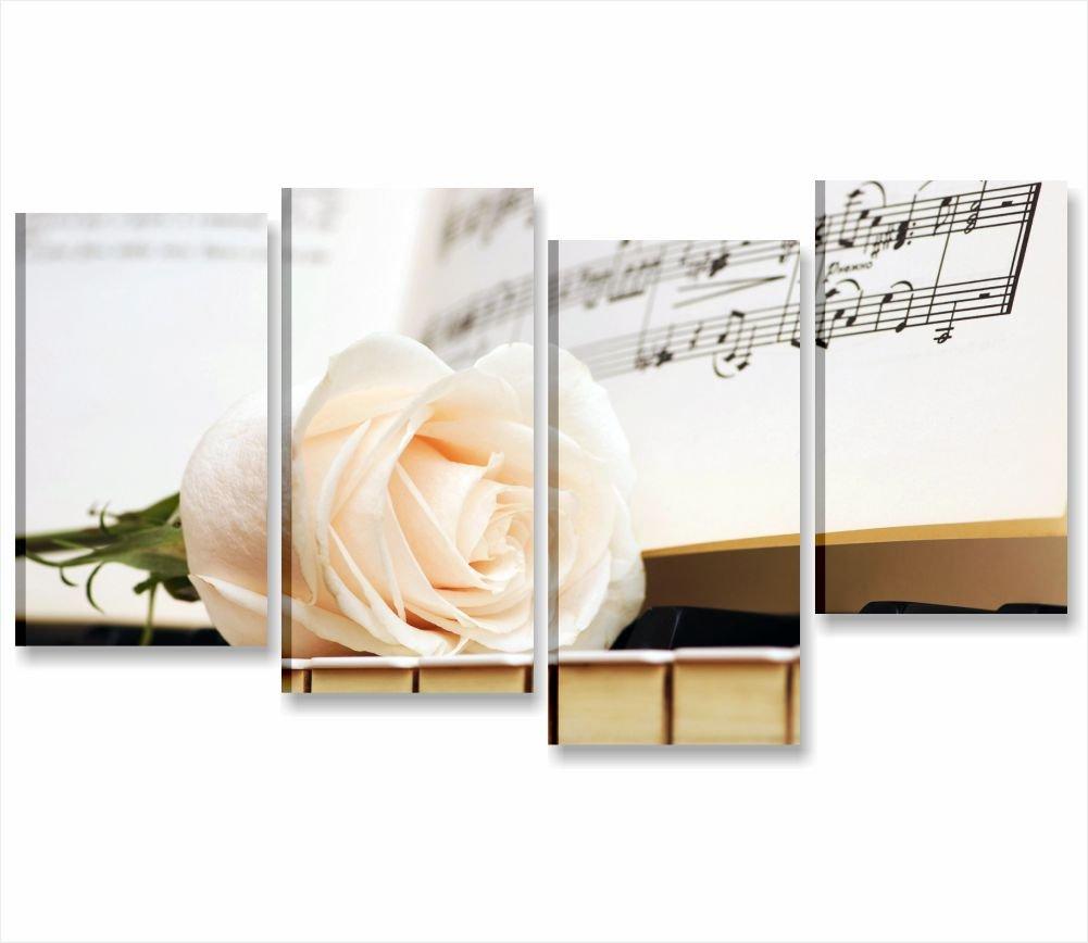 Pianoforte e rosa   quadro moderno intelaiato 152x78 cm stampa su ...