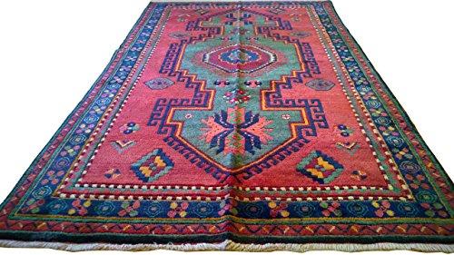 Vintage Handwoven Caucasian Kazak Carpet Area Rug 4.78 x 8.12 ft.